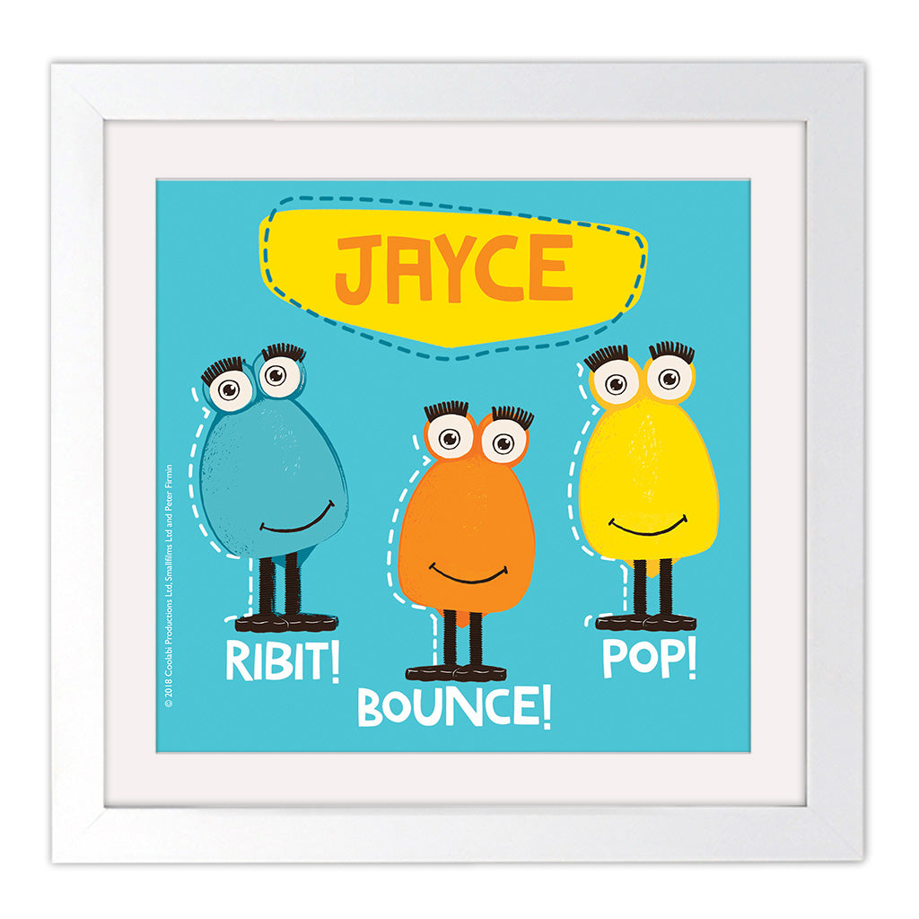 Froglet Clangers Personalised Square White Framed Art Print