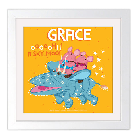 Sky Moo Clangers Personalised Square White Framed Art Print