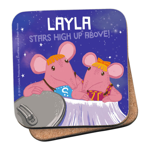 High Up Above Clangers Personalised Coaster