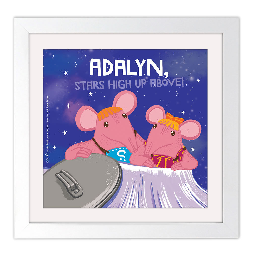 High Up Above Clangers Personalised Square White Framed Art Print