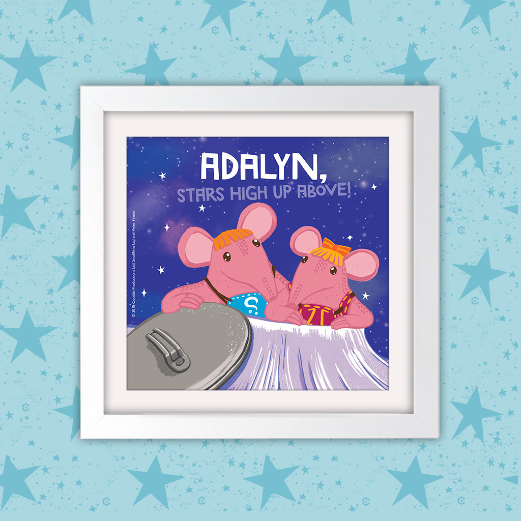High Up Above Clangers Personalised Square White Framed Art Print (Lifestyle)