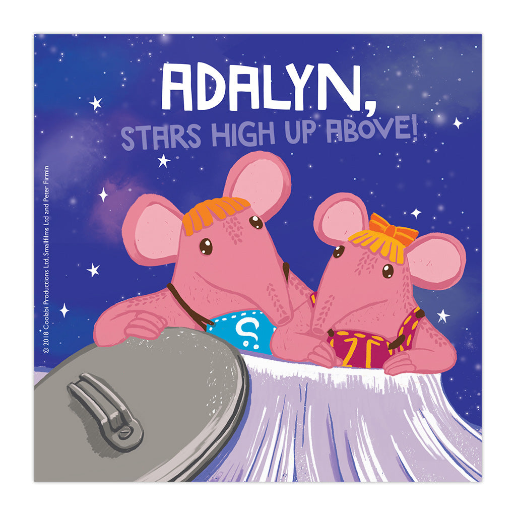 High Up Above Clangers Personalised Square Art Print