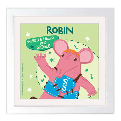 Whistle Hello Clangers Personalised Square White Framed Art Print