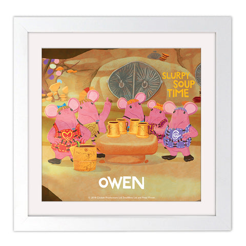 Soup Time Clangers Personalised Square White Framed Art Print