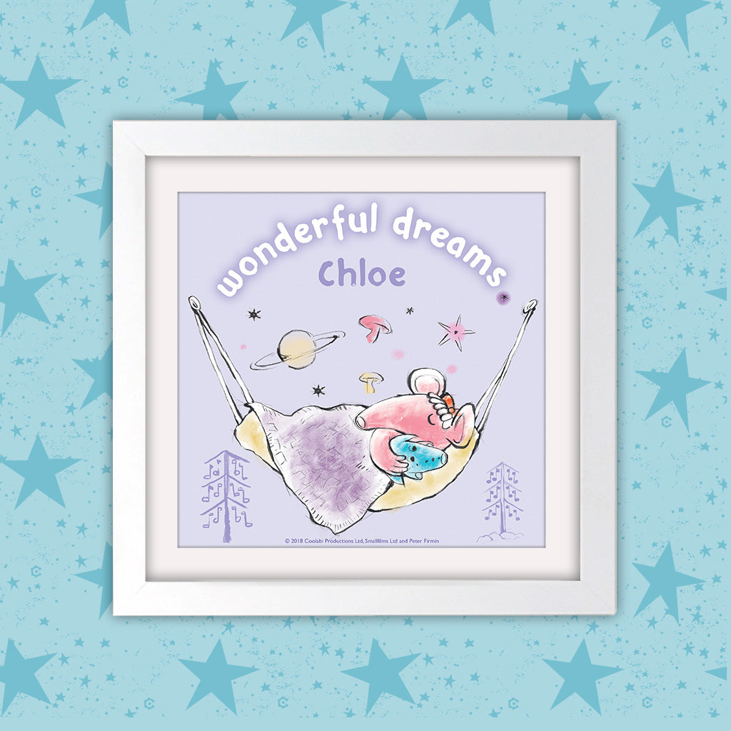 Clangers Dreams Personalised Square White Framed Art Print (Lifestyle)