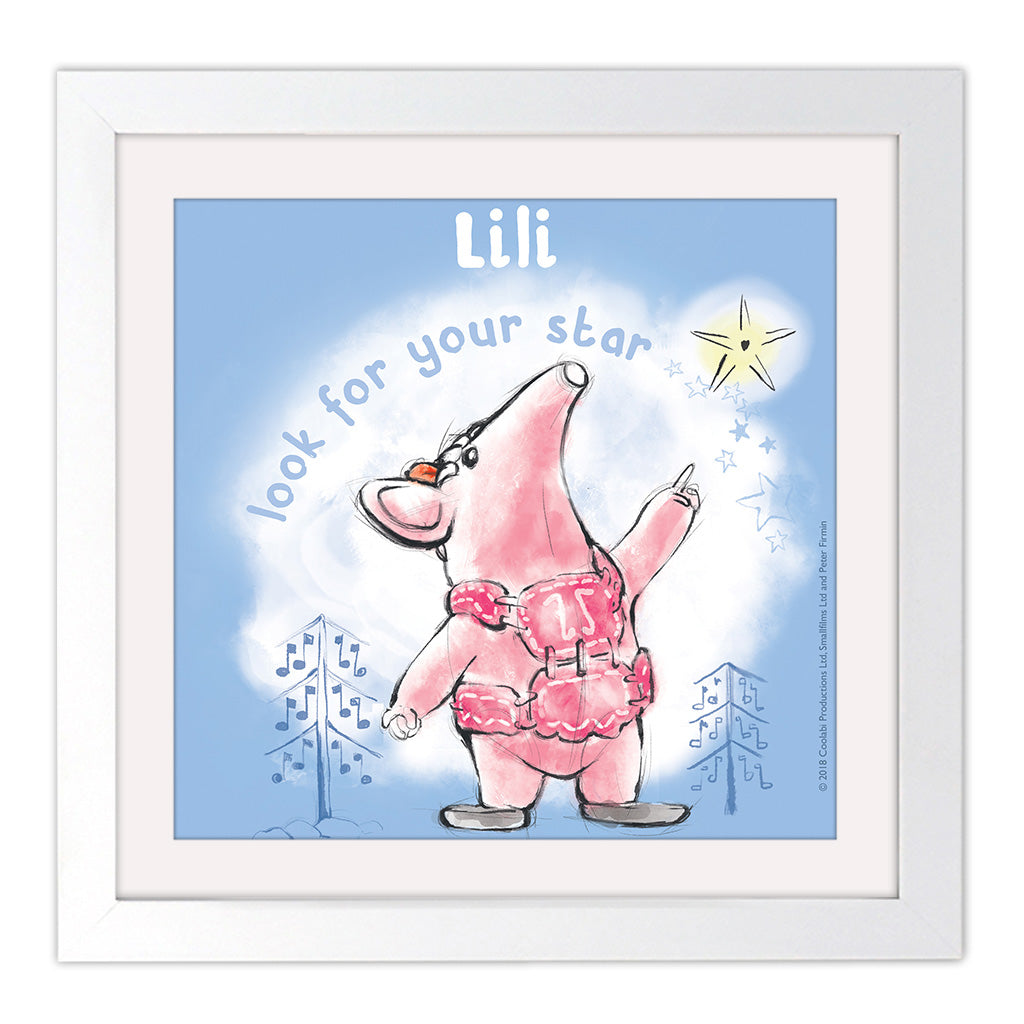 Clangers Star Personalised Square White Framed Art Print
