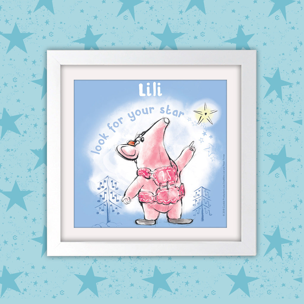 Clangers Star Personalised Square White Framed Art Print (Lifestyle)