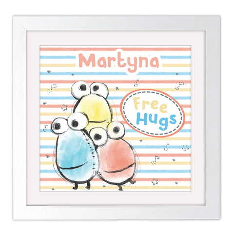 Clangers Free Hugs Personalised Square White Framed Art Print