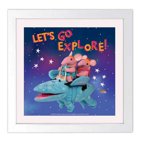 Let's go Explore Clangers Square White Framed Art Print