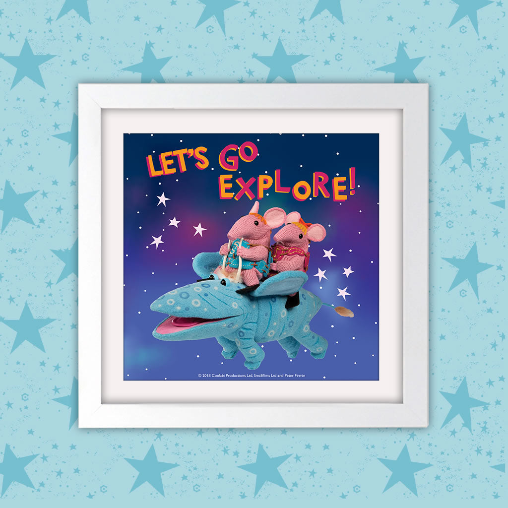 Let's go Explore Clangers Square White Framed Art Print (Lifestyle)