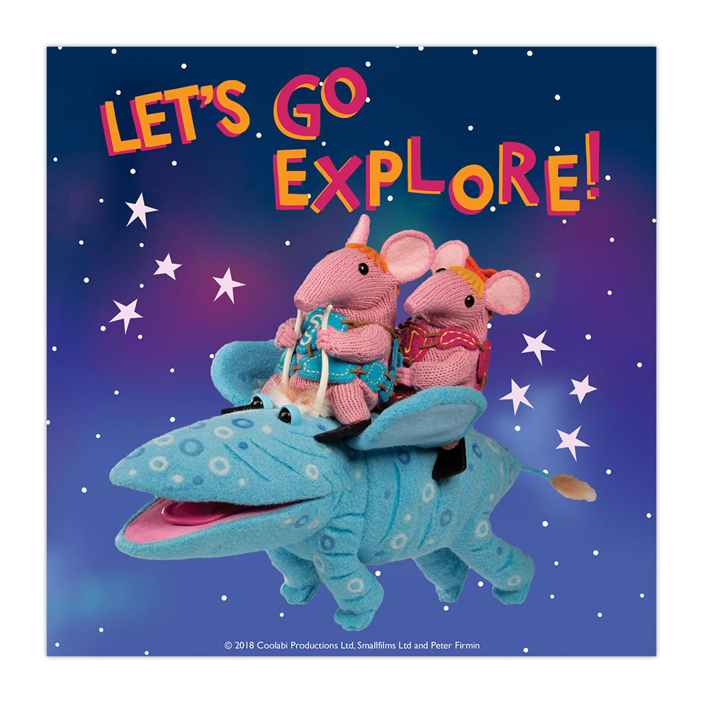 Let's go Explore Clangers Square Art Print