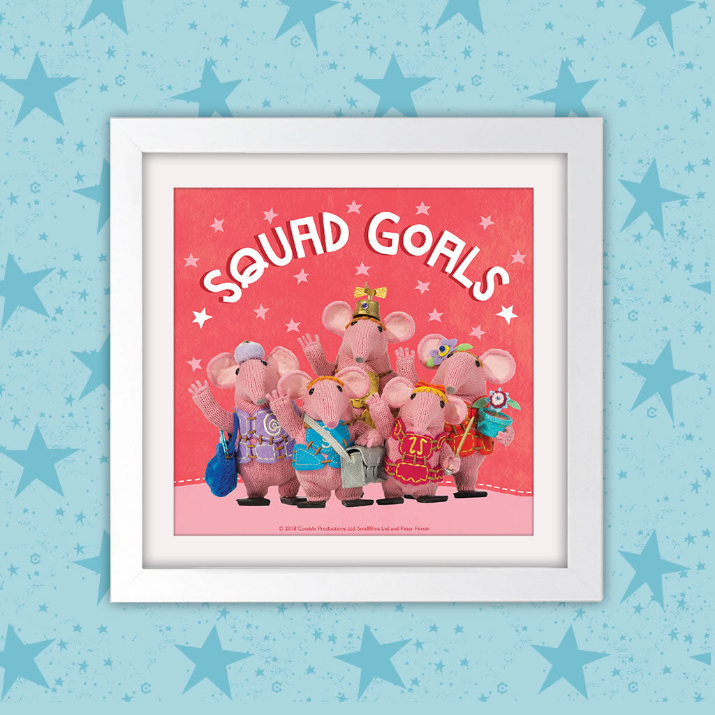 Squad Goals Clangers Square White Framed Art Print (Lifestyle)