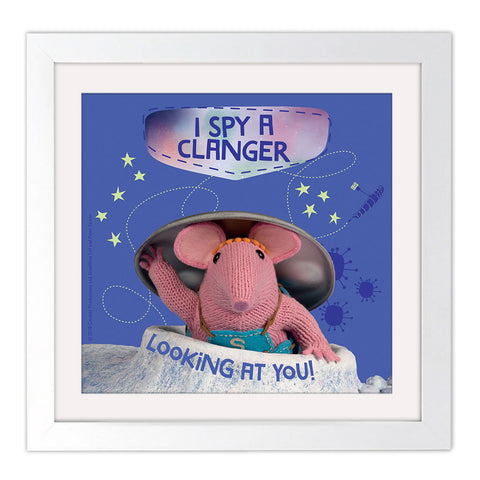 I Spy Clangers Square White Framed Art Print