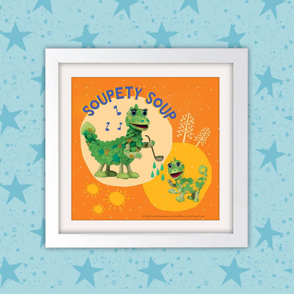 Soupety Soup Clangers Square White Framed Art Print (Lifestyle)