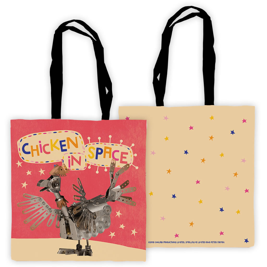 Chicken In Space Clangers Edge To Edge Tote Bag