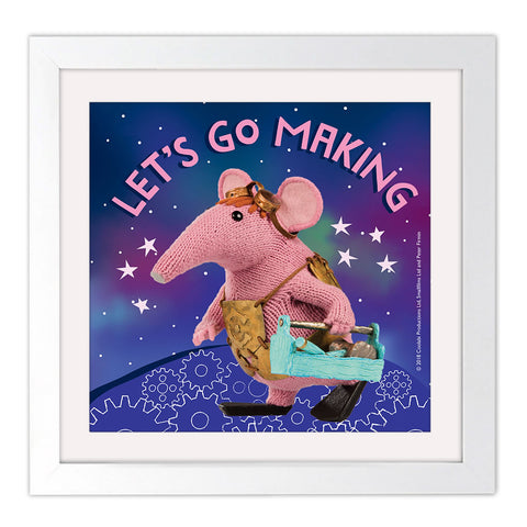 Let's go Making Clangers Square White Framed Art Print