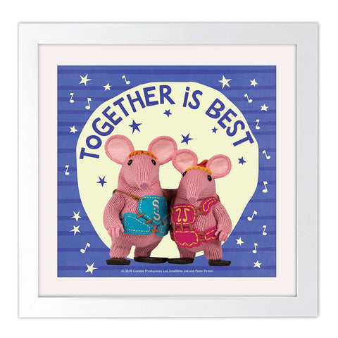 Mother Knows Best Clangers Square White Framed Art Print