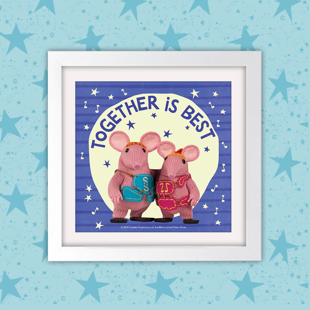 Mother Knows Best Clangers Square White Framed Art Print (Lifestyle)