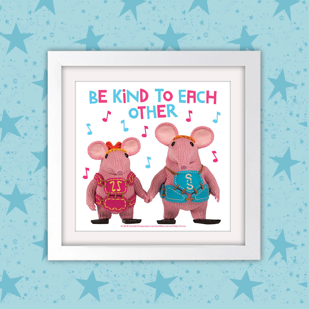 Be Kind Clangers Square White Framed Art Print (Lifestyle)