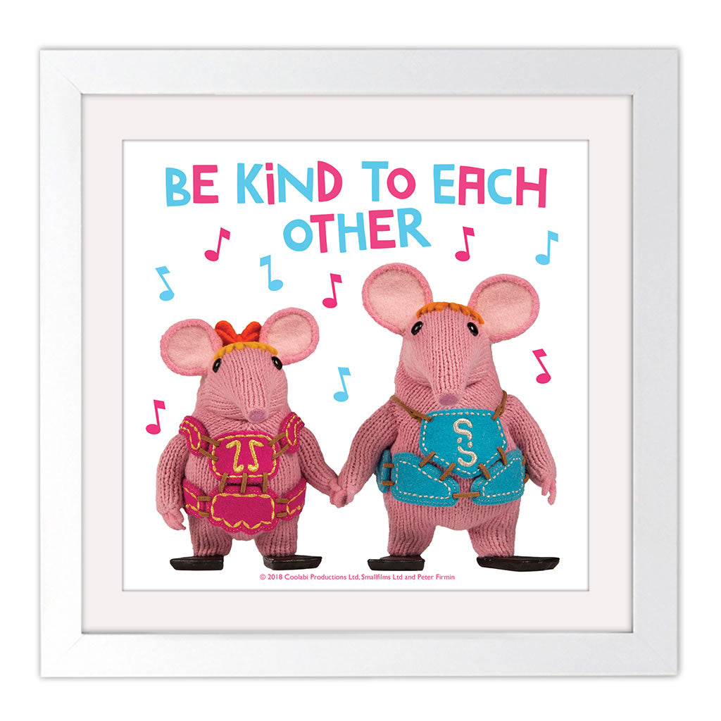 Be Kind Clangers Square White Framed Art Print