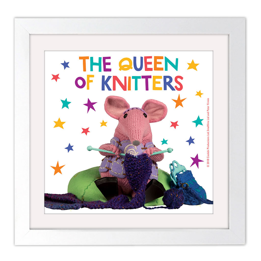 The Queen of Knitters Clangers Square White Framed Art Print