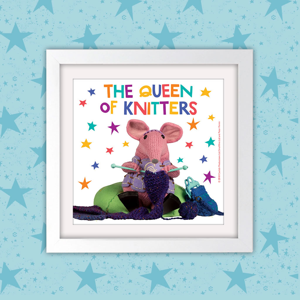 The Queen of Knitters Clangers Square White Framed Art Print (Lifestyle)