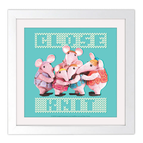 Close Knit Clangers Square White Framed Art Print