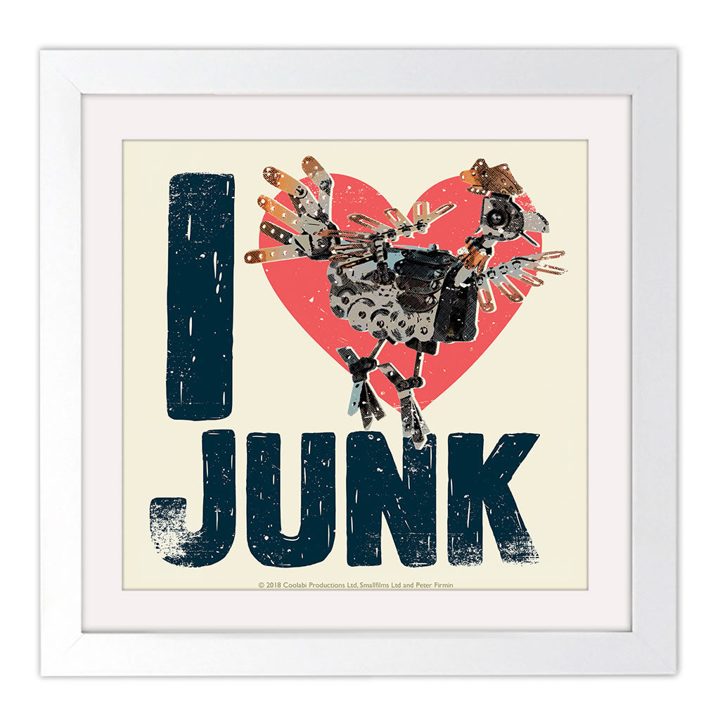 I Love Junk Clangers Square White Framed Art Print