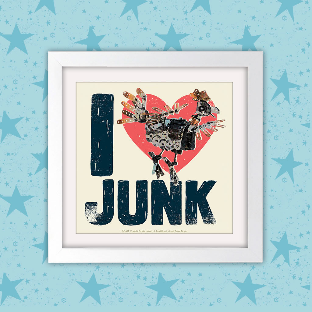 I Love Junk Clangers Square White Framed Art Print (Lifestyle)
