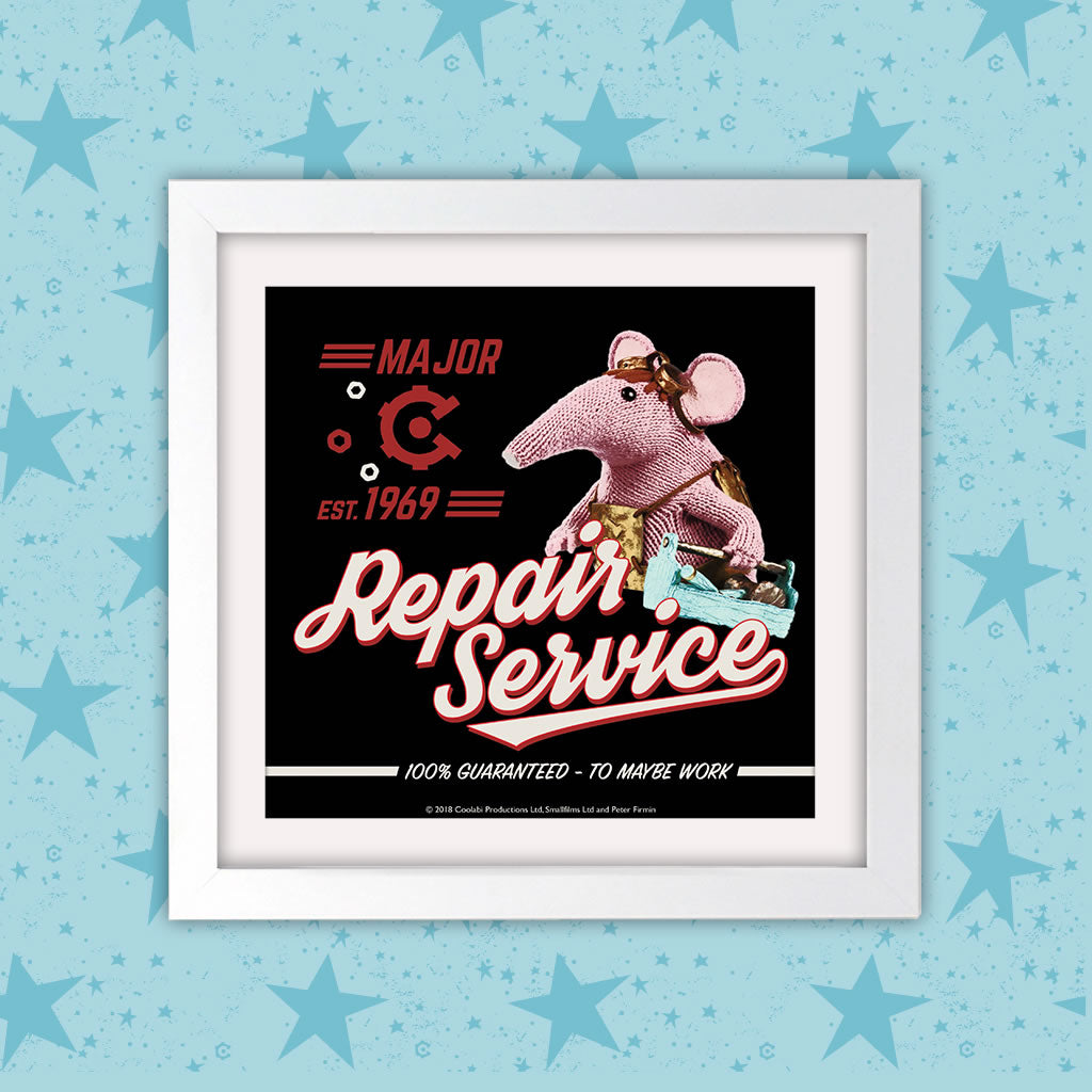 Repair Service Clangers Square White Framed Art Print (Lifestyle)