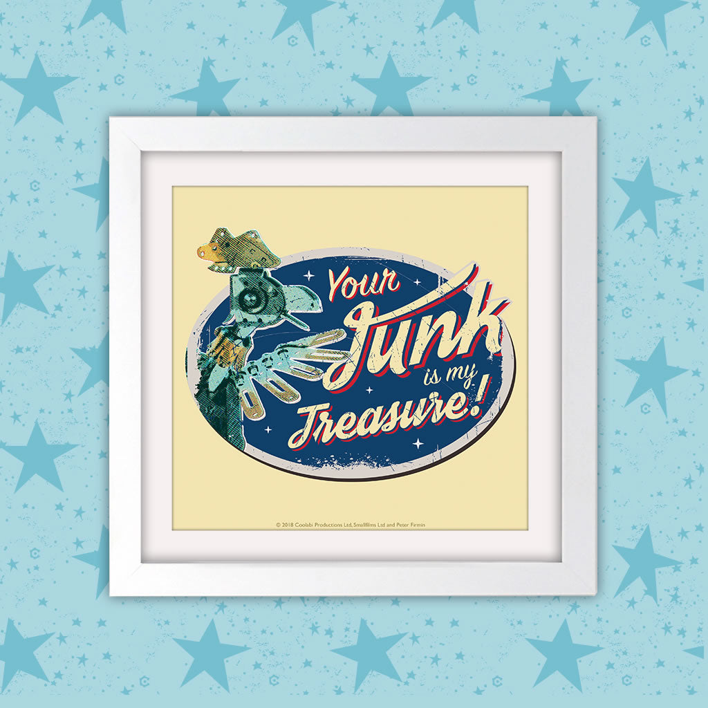 Junk Removal Clangers Square White Framed Art Print (Lifestyle)