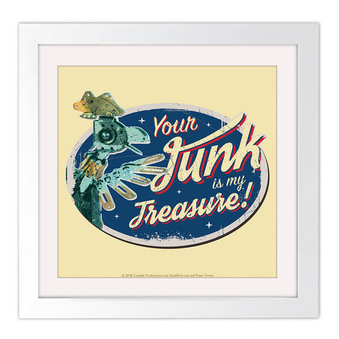 Junk Removal Clangers Square White Framed Art Print