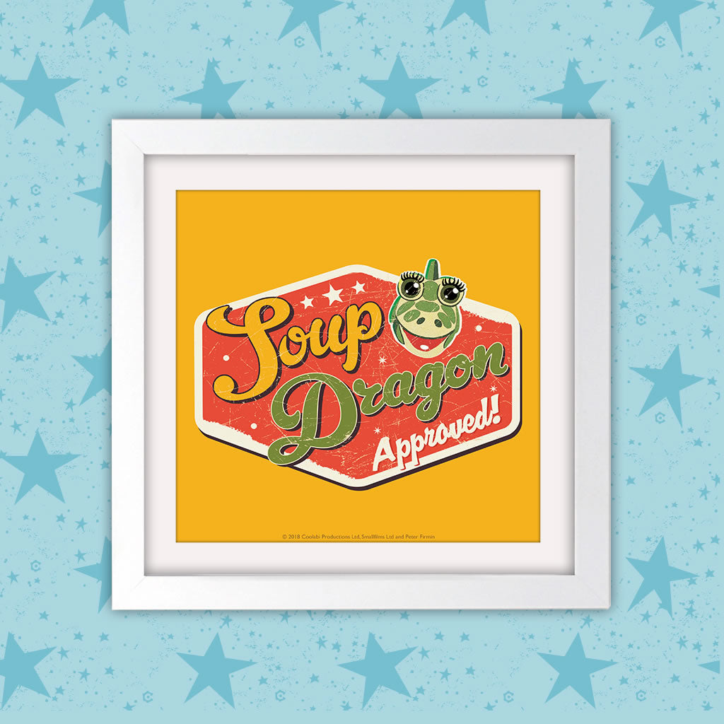 Soup Dragon Clangers Square White Framed Art Print (Lifestyle)