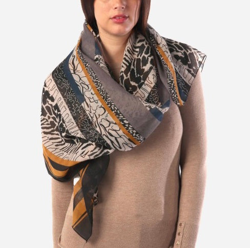 Geometric Animal Print Scarf