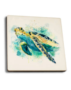 Watercolor Sea Turtle Coaster