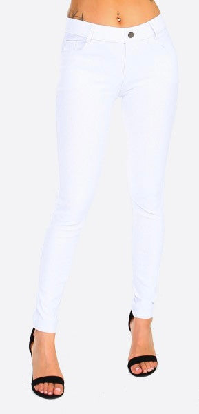 White Ankle Length Jeggings