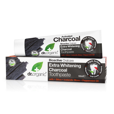 Dr Organic Extra Whitening Charcoal Toothpaste 100m