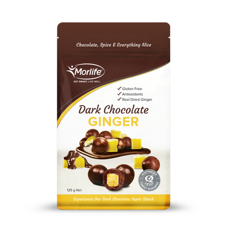 Morlife Dark Chocolate Coated Ginger 125g