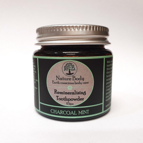 Nature Body Remineralising Toothpowder Charcoal Mint 65g
