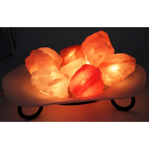 Himalayan Salt Lamp Glass Bowl with Fairy Lights 25cm