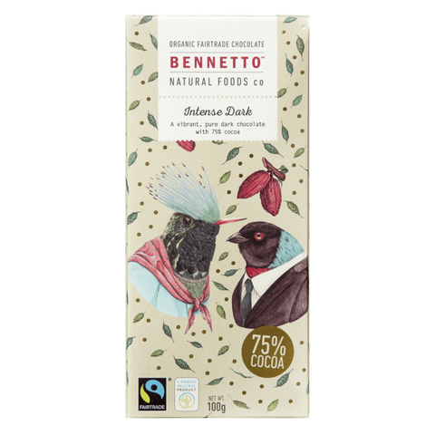 Bennetto Intense Dark Chocolate 75% 100g