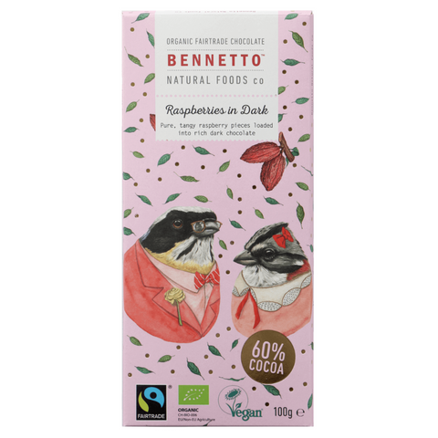 Bennetto Raspberries in Dark Chocolate 100g