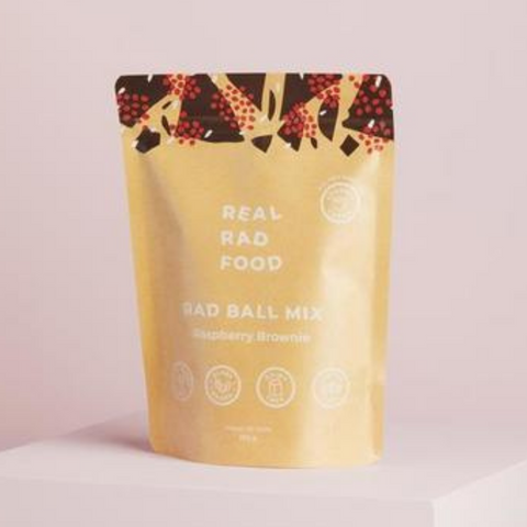 Real Rad Food Raspberry Brownie Ball Mix 250g