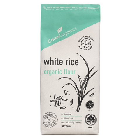 Ceres Organic White Rice Flour 800g Compostable Bag