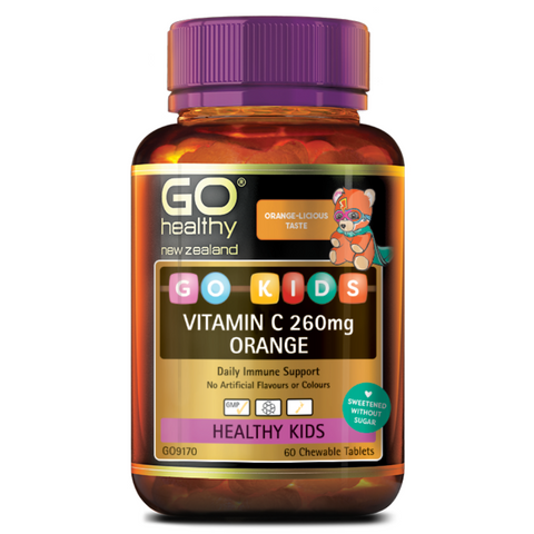 Go Kids Vitamin C 260mg 60 tab Orange Chewable