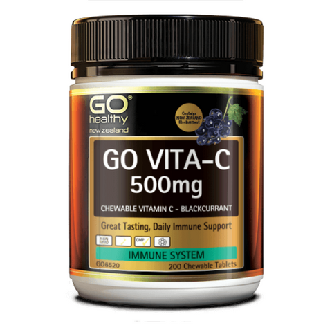 Go Vita-C 500mg NZ Blackcurrant Chewable 200tabs