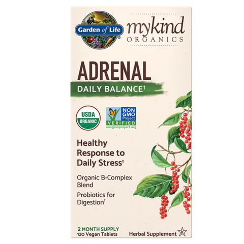 Garden of Life mykind Adrenal Daily Balance 120 vegan tablets 2 month supply