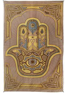 "Zest For Life Hamsa Hand Tapestry 52x80"" Brown"
