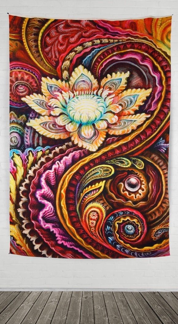 Flower Power Heady Art Print Tapestry 53x85 - Artwork by Randal Roberts