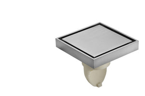 Invisible Non Slip Floor DrainBathroom with Tile Insert Cover, Hair Strainer, Threaded Adapter
